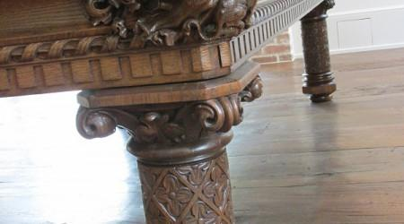 Intricate leg carving on European Gothic pool table