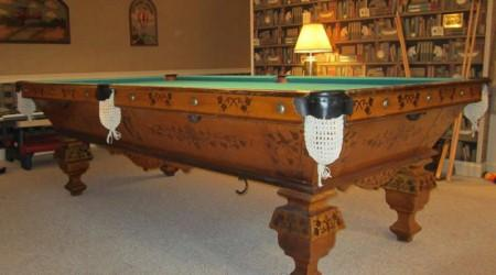 Professionally restored W.H. Griffith Ivy billiards table