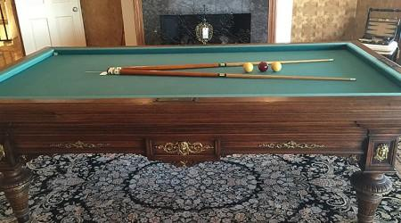 Antique Charles Goulet II billiards/pool table