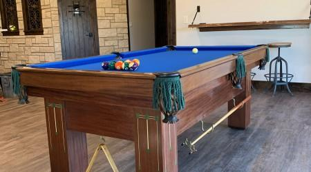 Restored Baby Grand billiards table with blue felt offered for sale