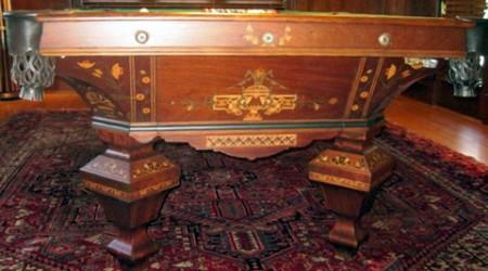 End view of The Brilliant Novelty pool table after restoration