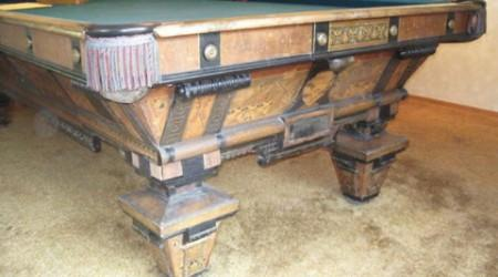 Antique Brunswick Balke Expo pool table before restoration