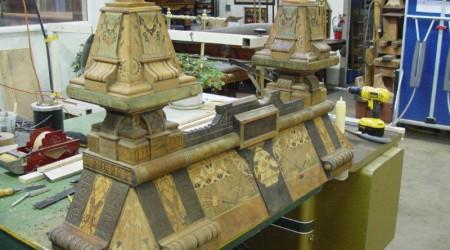 Before restoration: Brunswick Balke Expo billiards table