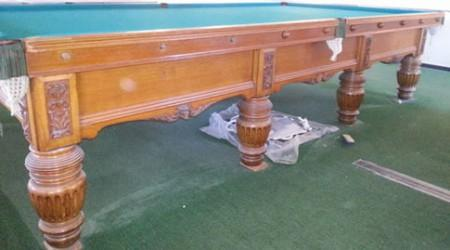 Burroughs & Watts, antique snooker table restored by Billiard Restoration Service