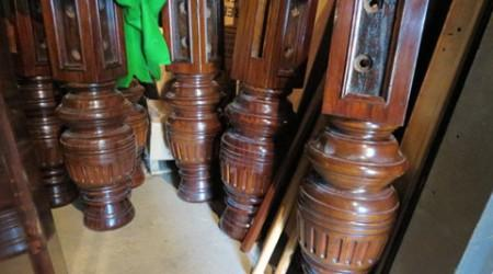 Carved legs of Burroughs & Watts II antique snooker table, before restoration