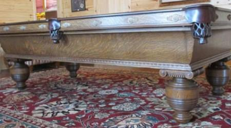 Antique Cambridge billiards table with amazingly detailed carvings