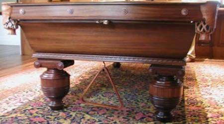 Restored antique Cambridge pool table