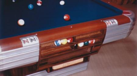 Antique Centennial billiards table on display