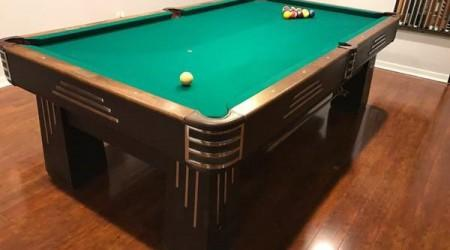 Restored Challenger billiards table