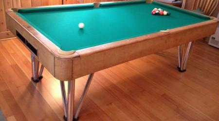 Rounded corners and metal legs, Champion Deco billiards