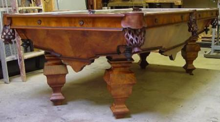 Fully restored Charles Schulenburg II antique pool table