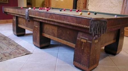 The Conqueror, fully restored antique pool table to original factory specs