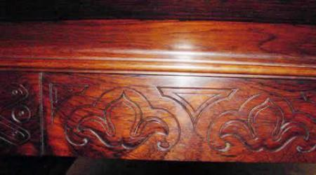 Antique detailing on E. Gerderes pool table