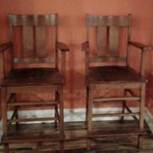 Antique wood billiard observation chairs (Arts/Crafts)