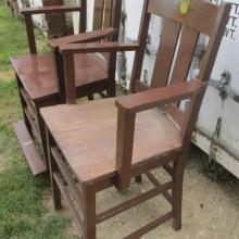 Side view of antique Arts/Crafts observation chairs