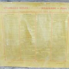"Antique wall hanging ""Standard Rules"" billiards"