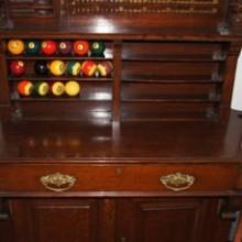 Antique dentil billiard cabinet, fully restored