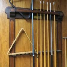 12 cue Grand Cue Rack, antique