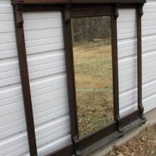 Antique dentil cue rack with mirror