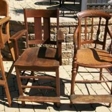 Set of restored antique billiard chairs (wood)