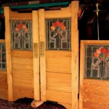 Oak saloon doors with glass detailing
