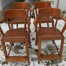 Four antique sportsman billiard observation chairs