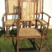 Pool table turned observation chairs, antique
