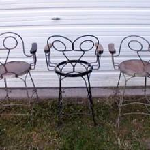 Antique billiards wire observation chairs