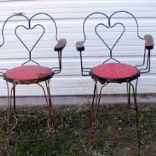 Antique heart-backed wire observation chair for billiards