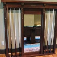 Restored Brunswick Wall Mount Cue Rack No 33 with mirror