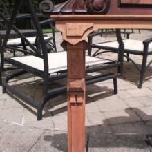 Top corner closeup of antique Eastlake Cue Rack