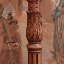 Base of restored carved cue rack for billiards, free standing