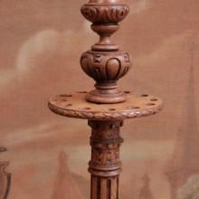 Antique free standing cue rack: carving details