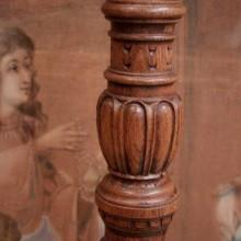 Antique carved free standing cue rack (base view)