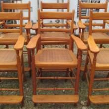 Six antique maple billiard observation chairs