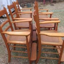 Set of six 1880's billiard observation chairs (maple)