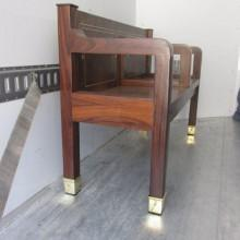 Antique Kling or Arcade billiards bench, side view