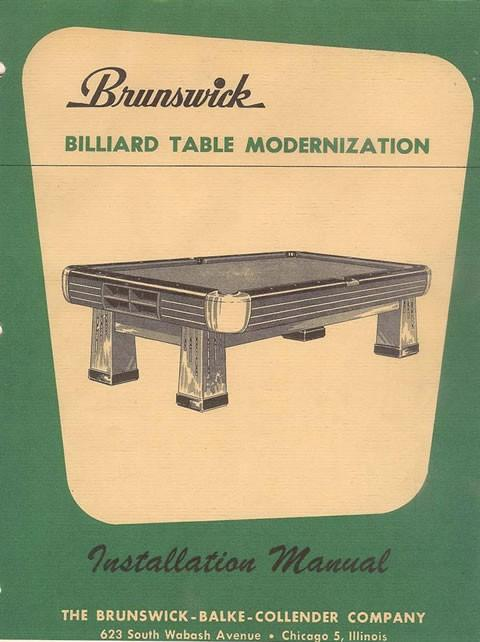Antique Brunswick table modernization manual