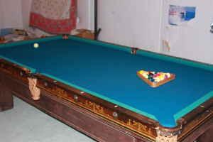 Antique billiard table done wrong - top view