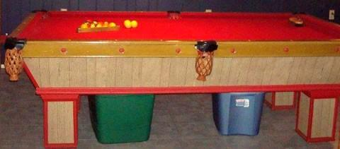 Damaged pool table