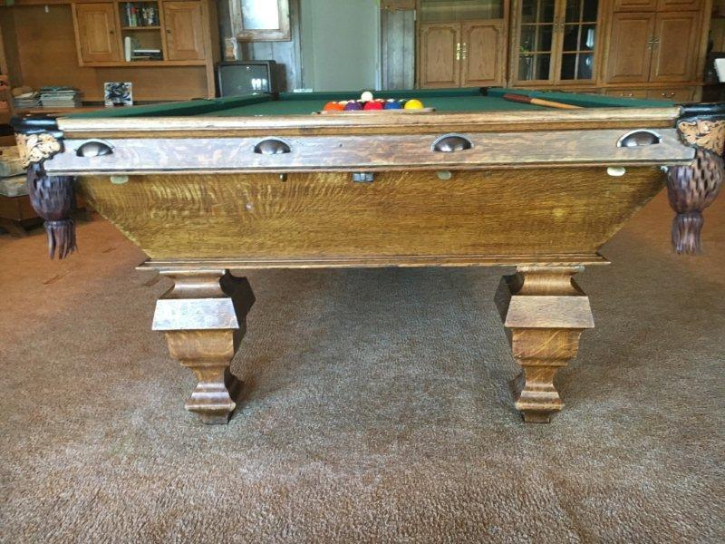Damaged billiards table Delaware 2 with drawer pulls