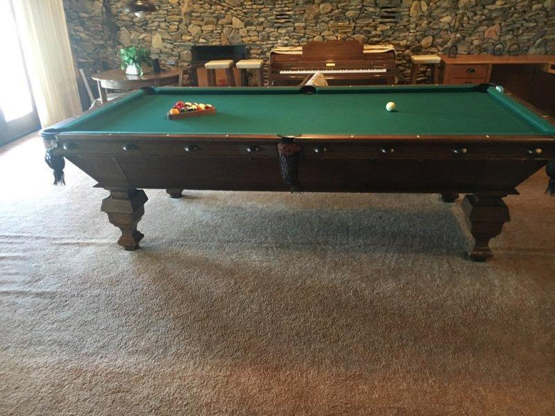 Damaged billiards table with drawer pulls (Delaware 2)